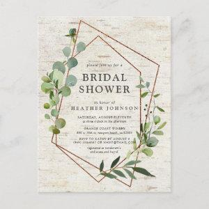 Rustic Copper Geometric Eucalyptus Bridal Shower Announcement Postcard starting at 1.70