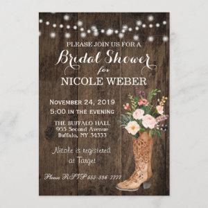 Rustic Country Cowboy Boot Bridal Shower Invite starting at 2.51