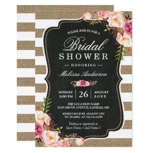 Rustic Country Floral Burlap Stripes Bridal Shower Invitation starting at 2.30