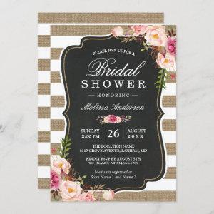 Rustic Country Floral Burlap Stripes Bridal Shower starting at 2.30