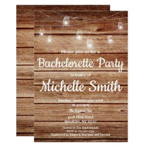 Rustic Country Hanging Lights Bachelorette Party Invitation starting at 2.45