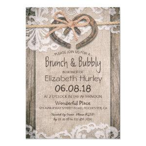 Rustic Country Horseshoe Burlap Lace Bridal Shower Invitation starting at 2.40