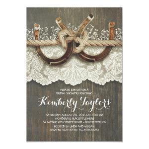 Rustic Country Horseshoes and Lace Bridal Shower Invitation starting at 2.56