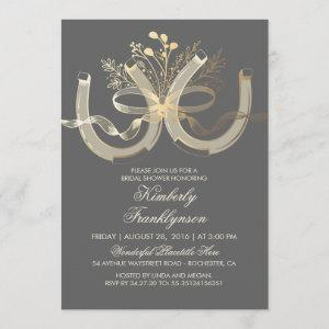 Rustic Country Horseshoes Gold Grey Bridal Shower Invitation starting at 2.66