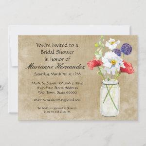Rustic Country Mason Jar Bouquet Crackle Swirls Invitation starting at 2.98
