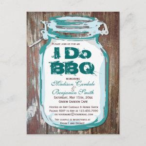 Rustic Country Mason Jar I Do BBQ Postcards starting at 1.80