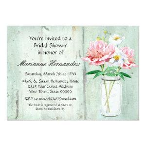 Rustic Country Mason Jar Peony Poppy Bouquet Pink Invitation starting at 2.98