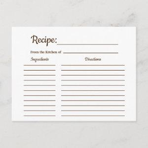 Rustic Country Vintage Recipe Card Shower Insert starting at 1.70