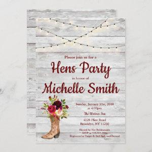 Rustic Country Western Boot Vintage Hens Party Invitation starting at 2.45
