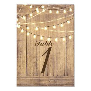 Rustic Country Western Wood & Lights Table Number starting at 2.16