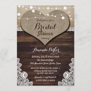 Rustic Country Wood Burlap Lace Bridal Shower starting at 2.51
