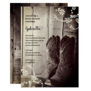Rustic Cowboy Boots Floral Western Bridal Shower Invitation starting at 2.60