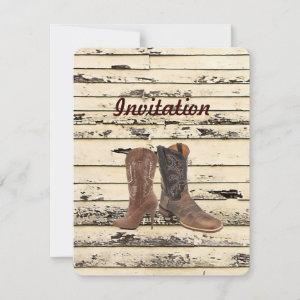 rustic Cowboy Boots Western country Wedding Invitation starting at 2.62