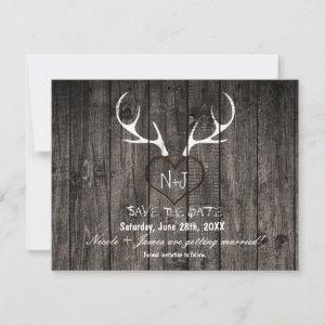 Rustic Deer Antlers & Carved Heart Save The Date starting at 2.90