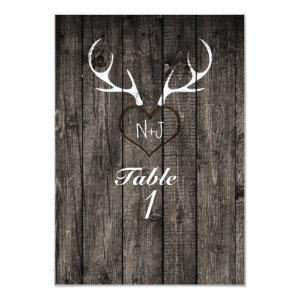 Rustic Deer Antlers & Carved Heart Table Number starting at 2.16