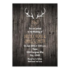 Rustic Deer Antlers & Carved Heart Wedding Invitation starting at 2.87