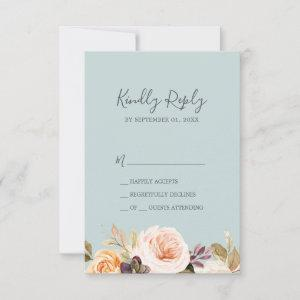 Rustic Earth Florals   Mint Simple RSVP Card starting at 2.01