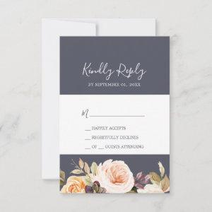 Rustic Earth Florals | Purple Simple RSVP Card starting at 2.01