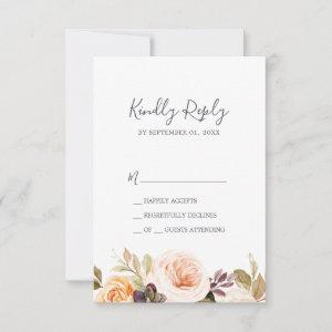 Rustic Earth Florals Simple RSVP Card starting at 2.01