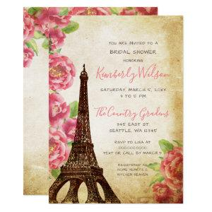Rustic Eiffel Tower Paris French Bridal Shower Invitation starting at 2.50
