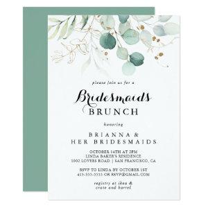 Rustic Eucalyptus Gold Bridesmaids Brunch Shower Invitation starting at 2.51
