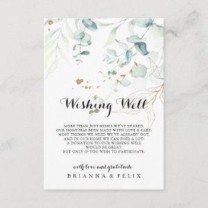 Rustic Eucalyptus Gold Floral Wedding Wishing Well Enclosure Card starting at 1.91