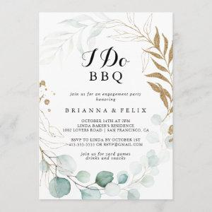 Rustic Eucalyptus Gold I Do BBQ Engagement Party Invitation starting at 2.51