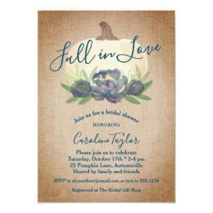 Rustic Fall in Love Blue Floral Bridal Shower Invitation starting at 2.66