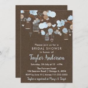 Rustic Floral Bird Cages in Blue Bridal Shower Invitation starting at 2.66