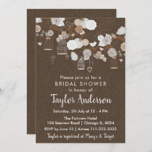 Rustic Floral Bird Cages in Gray Bridal Shower Invitation starting at 2.66