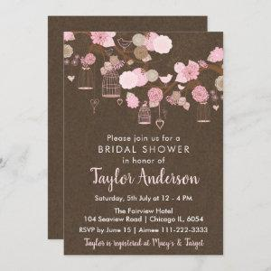 Rustic Floral Bird Cages in Pink Bridal Shower Invitation starting at 2.66