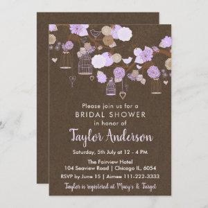 Rustic Floral Bird Cages in Purple Bridal Shower Invitation starting at 2.66