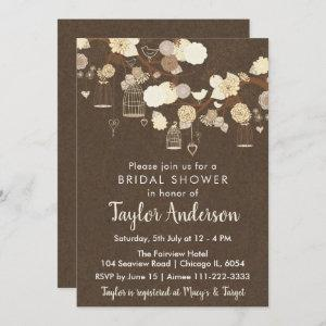 Rustic Floral Bird Cages in Yellow Bridal Shower Invitation starting at 2.66