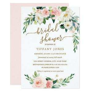 Rustic Floral Blush Gold Wreath Bridal Shower Invitation starting at 2.51