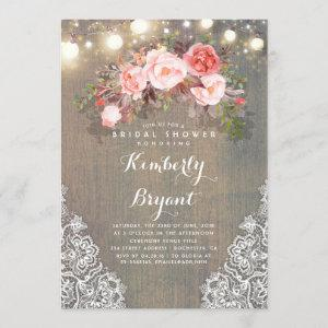 Rustic Floral Lace Lights Wood Bridal Shower Invitation starting at 2.40