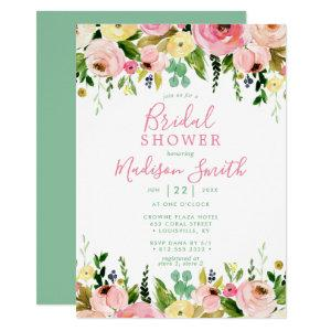 Rustic Floral Mint Green Watercolor Bridal Shower Invitation starting at 2.55