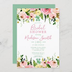 Rustic Floral Mint Green Watercolor Bridal Shower Invitation starting at 2.40