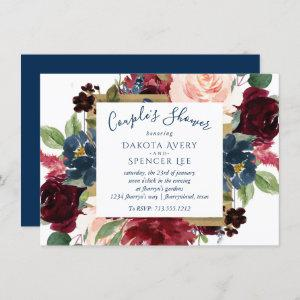 Rustic Floral | Navy Blue Red Pink Couple Shower Invitation starting at 2.10