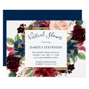 Rustic Floral | Navy Blue Red Pink Virtual Shower Invitation starting at 2.40