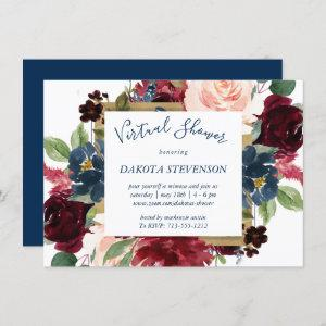 Rustic Floral   Navy Blue Red Pink Virtual Shower starting at 2.10