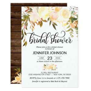 Rustic Floral Pink Orange Fall Bridal Shower Invitation starting at 2.05