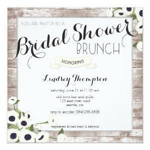 Rustic Flowers Bridal Shower Brunch Invitation starting at 2.41