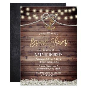 Rustic Gold Anchor & Rope FLoral Bridal Shower Invitation starting at 2.45