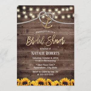 Rustic Gold Anchor & Rope Sunflowers Bridal Shower Invitation starting at 2.40