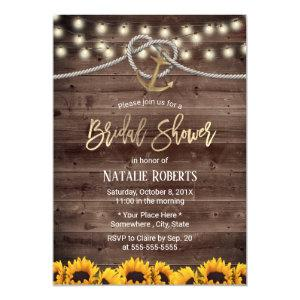 Rustic Gold Anchor & Rope Sunflowers Bridal Shower Invitation starting at 2.45