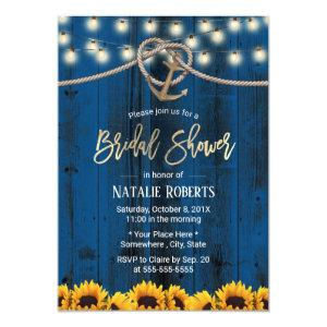 Rustic Gold Anchor Sunflowers Navy Bridal Shower Invitation starting at 2.45