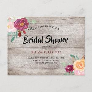 Rustic Gray Woo Burgundy Pink Floral Bridal Shower Invitation Postcard starting at 1.70