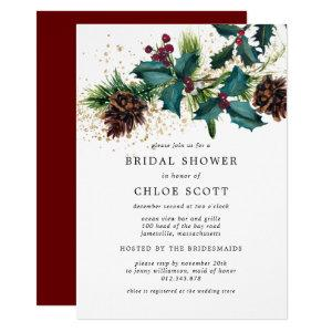 Rustic Holly and Berries Botanical Bridal Shower Invitation starting at 2.40
