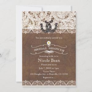 Rustic Horseshoes & Lace Country BRIDAL SHOWER Invitation starting at 2.77