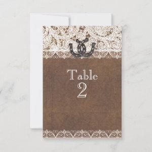 Rustic Horseshoes & Lace Country Table Numbers starting at 2.15